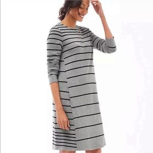 J. Jill Striped Gray Black Tunic Dress